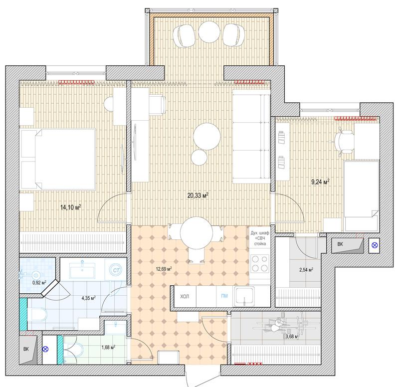 Объединение кухни и жилой комнаты (газовая плита) - Право