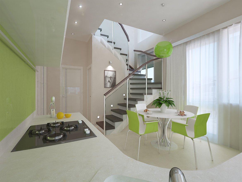 Дизайн кухни в таунхаусах